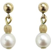 Vintage 14K Yellow Gold Pierced Stud Earrings with Authentic Cultured Pearl Drop