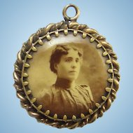 Rare Antique Victorian Double Photo Portrait Mourning Necklace Pendant Two Sided Man Woman