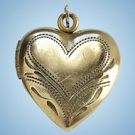Antique Heart Photo Locket Necklace Pendant 12K GF Gold Filled Hallmarked No Monogram