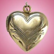 Antique Heart Photo Locket Necklace Pendant 12K GF Gold Filled Hallmarked No Monogram