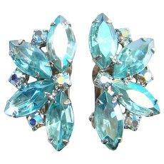 Juliana Aqua Aurora Borealis Rhinestone Clip Earrings Silvertone Setting
