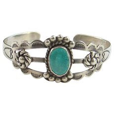 Fred Harvey Era 1940 Navajo Turquoise Cuff Bracelet Silver Arrow Products Hallmark