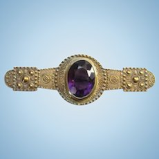 Large Antique Victorian Gold Plated Bar Pin Faceted Amethyst Glass C Clasp