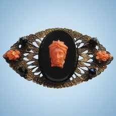 Antique Victorian Carved Coral Cameo Onyx Bar Pin Brooch Gilt Pierced Setting High Relief