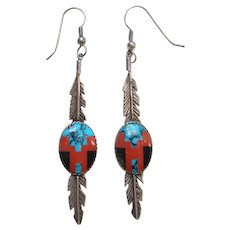 Southwestern Sterling Silver Feather Pierced Earrings Turquoise Coral Onyx Signed