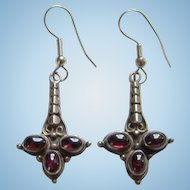 Vintage Garnet Sterling Silver Pierced Earrings Bohemian Boho Chic