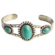 Bell Trading Post Fred Harvey Era Seafoam Turquoise Cuff Bracelet Signed Sterling Silver Native American