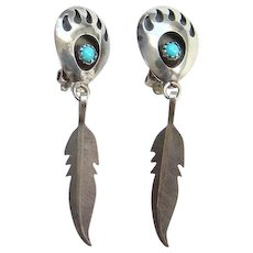 Native American Bear Paw Turquoise Clip Earrings Feather Dangle Sterling Silver