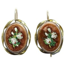 Antique Victorian Gold Filled Goldstone Pierced Earrings with Micromosaic White Flowers Inlay Fish Hook Backs