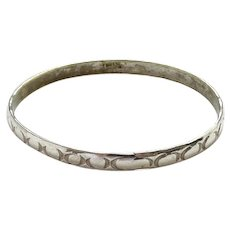 Vintage Signed Taxco Mexico Mexican Sterling Silver Bangle Bracelet Oval Design