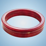 Vintage Cinnabar Red Marbled Bakelite Bangle Spacer Bracelet Lot 3 Graduated Size Tested
