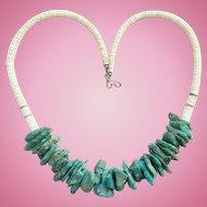 Vintage Turquoise Nugget White Graduated Heishi Shell Necklace Southwestern