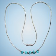 Vintage Turquoise Nugget Sterling Silver Choker Necklace Southwestern