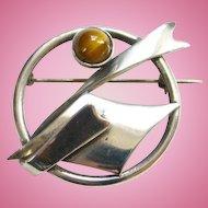 Vintage Tiger Eye Sterling Silver Pin Brooch Modernist Style