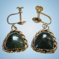 Vintage Southwestern Sterling Silver Green Stone Earrings Screw Back Gold Vermeil