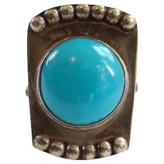 Vintage Sterling Silver and Turquoise Ring 9.75 Clarence Dorr Signed