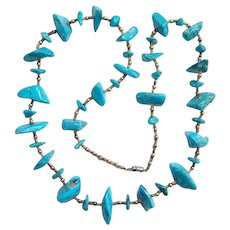 Vintage Southwestern Graduated Turquoise Nugget Bead Necklace with Sterling and Heishi Shell Beads