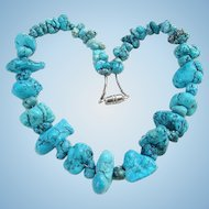 Vintage Southwestern Graduated Turquoise Nugget Bead Necklace with Sterling Pipe Beads