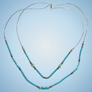 Vintage Turquoise Nugget Bead Two Strand Necklace with Pipe Beads 22 Inch Southwestern Style