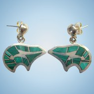 Vintage Green Malachite Inlay Silver Pierced Bear Earrings Marked Sterling Southwestern Style