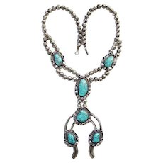 Southwestern Spider Web Turquoise Naja Necklace Sterling Silver Squash Blossom Style Native American Vintage