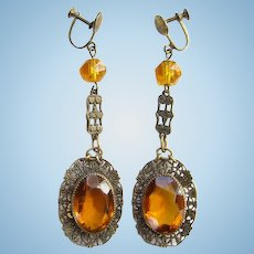 Vintage Art Deco Amber Czech Glass Drop Dangle Filigree Screw Back Earrings