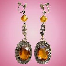 Vintage Art Deco Amber Czech Glass Drop Dangle Filigree Screw Back Earrings