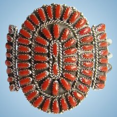 Zuni Coral Petit Point Rosette Cluster Cuff Bracelet Vintage Native American Sterling Silver