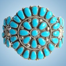 Vintage Native American Zuni Turquoise Rosette Cluster Cuff Bracelet Sterling Silver Hallmarked JP