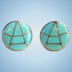 Vintage Zuni Turquoise and Sterling Silver Channel Inlay Pierced Stud Earrings Signed K