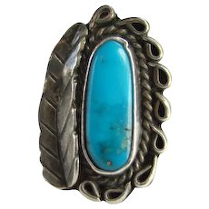 Vintage Navajo Morenci Turquoise Ring Size 6.75 Sterling Silver Native American