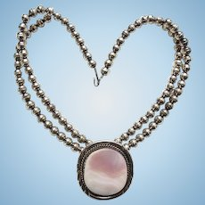 Native American Navajo Pink Mother of Pearl Shell Pendant Necklace Sterling Silver Beads Signed HS