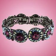Vintage Designer Amethyst Rivoli Rhinestone Clamper Bracelet Aurora Borealis Chatons Black Plated