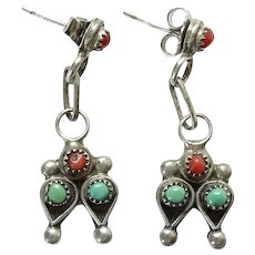 Vintage Native American Turquoise and Coral Pierced Post Earrings in Sterling Silver