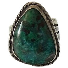 Vintage Sterling Silver Chrysocolla Gemstone Ring Size 4.75 Hallmarked Mexico MLV 925