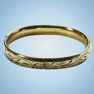 Vintage Carl Art Gold Filled Slide Bangle Bracelet Floral Etched Design 12K GF