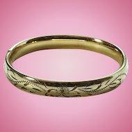 Vintage Carl Art Gold Filled Slide Bangle Bracelet Floral Etched Design 12K GF