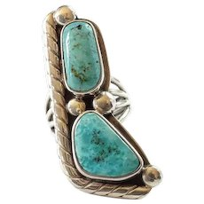 Native American Navajo Artist Paul Stover Double Turquoise Sterling Ring Size 6.25 Signed