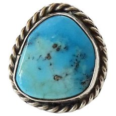 Vintage Native American Morenci Turquoise and Sterling Silver Pinky Ring Size 4 Great Stone
