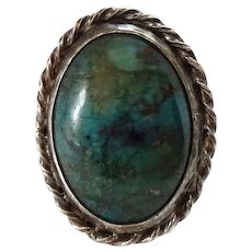 Vintage Southwestern Chrysocolla and Sterling Silver Ring Size 7