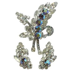 Juliana Clear Rhinestone DeLizza and Elster Brooch Earrings Set Blue Aurora Chatons Verified