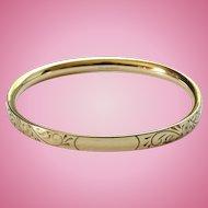 1966 GF Gold Filled Oval Bangle Hinged Bangle Bracelet Signed A & Z 1/20 12K No Monogram