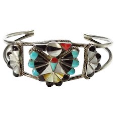 Old Zuni Thunderbird Sterling Silver Inlay Cuff Bracelet Turquoise Coral Jet Mother of Pearl