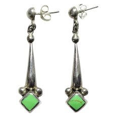 Vintage Mexico Green Gaspeite Pierced Earrings Drop Dangle Hallmarked 925 Sterling Mexican Jewelry