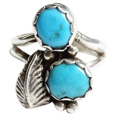 Vintage Navajo Double Turquoise Ring Size 6.75 Native American
