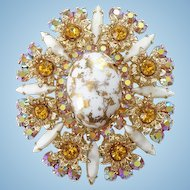 Juliana Pendant Brooch Pin White and Gold Easter Egg Cabochon Amber Rhinestones Metal Accents
