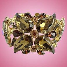 Spectacular Vintage Dark Champagne Topaz and Smoky Rhinestone Link Bracelet Goldtone Setting Dramatic