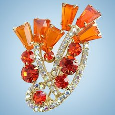 1958 Juliana HTF Orange Tapered Baguette Rhinestone Brooch Pin D and E