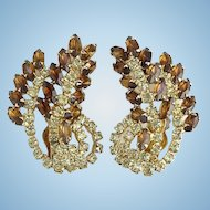 Gorgeous Topaz and Citrine Rhinestone Climber Clip Earrings Stylized Leaf Vintag