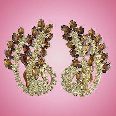 Gorgeous Topaz and Citrine Rhinestone Climber Clip Earrings Stylized Leaf Vintag